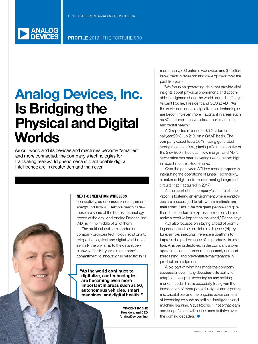 Analog Devices, Inc. Is Bridging the Physical and Digital Worlds